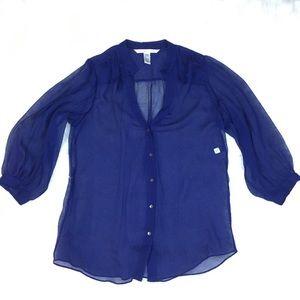 Diane Von Furstenberg ultramarine silk top Sz 8